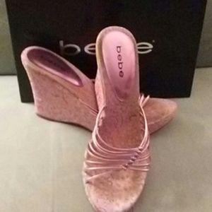 Bebe pink paisley wedge sandal